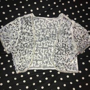 Sweaters - Sequin Silver Crop Cardigan